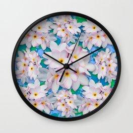 Plumeria Bouquet Exotic Summer Pattern Wall Clock