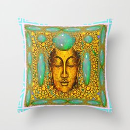 TURQUOISE ART DECO & FIRE OPALS GOLD BUDDHA ABSTRACT Throw Pillow