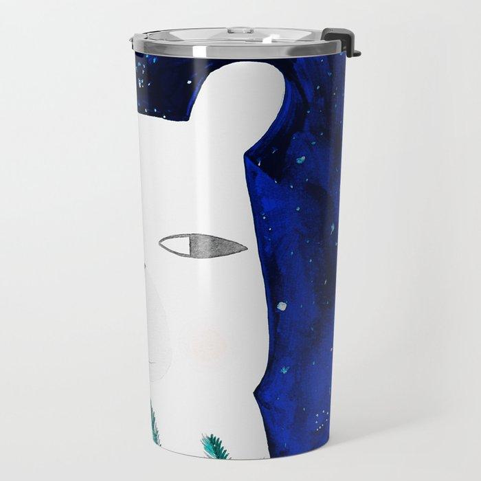 polar bear with botanical illustration in blue Travel Mug