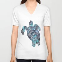 sea turtle V-neck T-shirts featuring Sea Turtle by LebensART
