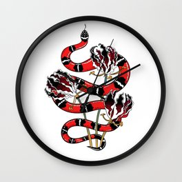 Beautiful Art Tattoo Snake with Flowers Wall Clock