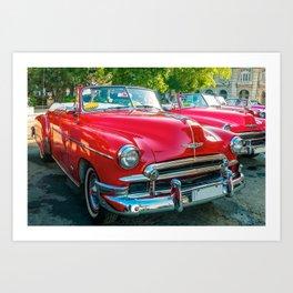 Beautiful red vintage taxis in Havana, Cuba. Art Print