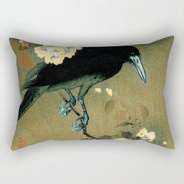 Ohara Koson - Top Quality Art - Crow and Blossom Rectangular Pillow