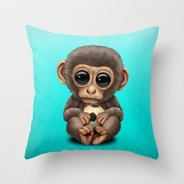 Cute Baby Monkey With Football Soccer Ball Throw Pillow