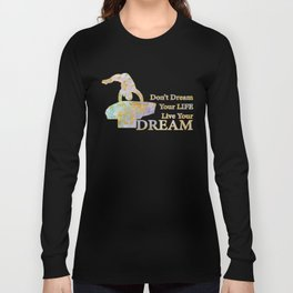 Live Your Dream Gymnastics Design in Watercolor and Gold Long Sleeve T-shirt