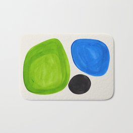 Mid Century Modern Retro Minimalist Colorful Shapes Phthalo Blue Lime Green Native Pebbles Bath Mat