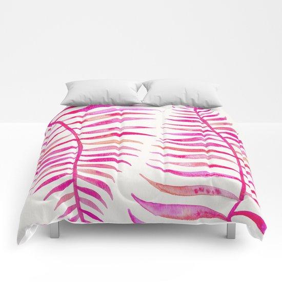 Pink Palm Leaf Comforters