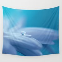lonely Wall Tapestries featuring Lonely droplet lightblue by UtArt