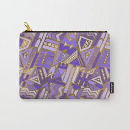 Gold and Rose Quartz Tribal Pattern on Purple Carry-All Pouch