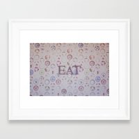 eat Framed Art Prints featuring Eat by Hello Twiggs