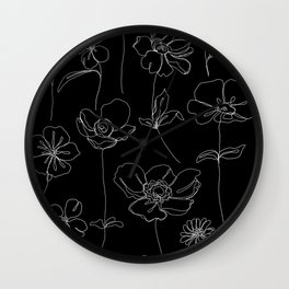 Botanical illustration drawing - Botanicals Black Wall Clock