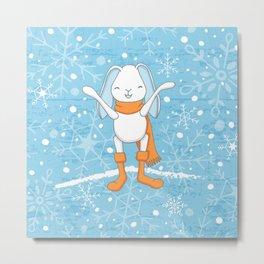 Bunny and Snowflakes_2 Metal Print