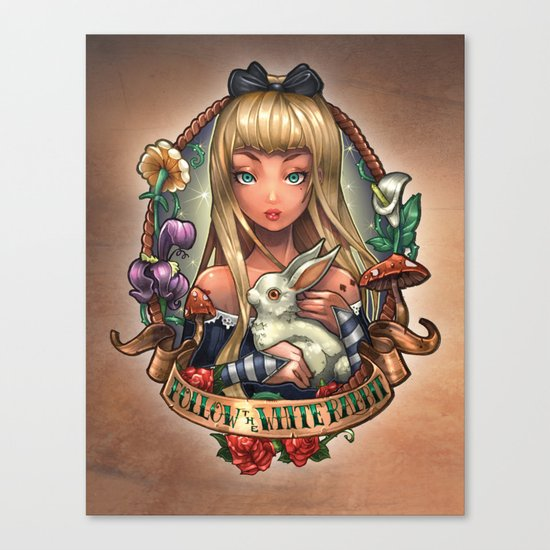 Follow The White Rabbit. Canvas Print