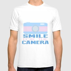 Smile For The Camera; MEDIUM White Mens Fitted Tee
