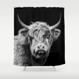 Highland Cow Black And White Shower Curtain