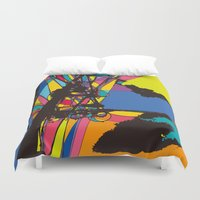 the wire Duvet Covers featuring wire by PINT GRAPHICS