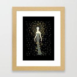 """Art Deco Sepia Illustration """"Star Studded Glamor"""" Framed Art Print"""