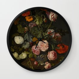 """Cornelis Kick """"A still life with parrot tulips, poppies, roses, snow balls, and other flowers"""" Wall Clock"""