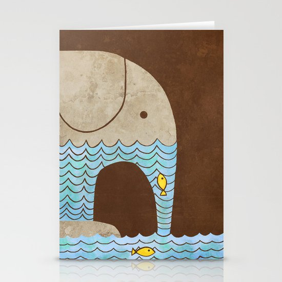 Thirsty Elephant - colour option Stationery Cards