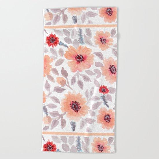 Watercolor . Salmon flowers . Beach Towel