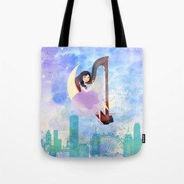 Harp girl 2: Music at night Tote Bag