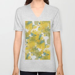 Yellow Flowers with Blue Crosshatch 2 Unisex V-Neck