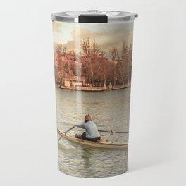Woman Rowing at Del Retiro Park, Madrid, Spain Travel Mug