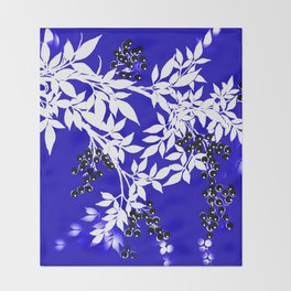 LEAF AND TREE BRANCHES BLUE AND WHITE BLACK BERRIES Throw Blanket