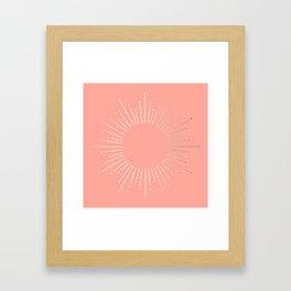 Simply Sunburst in White Gold Sands on Salmon Pink Framed Art Print