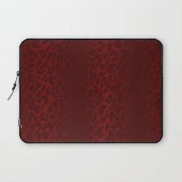 Blood Red Shadowed Leopard Print Laptop Sleeve