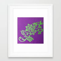 floral pattern Framed Art Prints featuring Floral Pattern by Marjolein