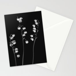 Lily of the Valley Noir Stationery Cards