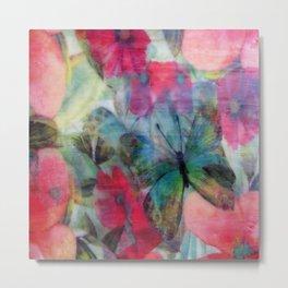 Floral Butterfly Burst Metal Print