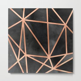 Black & Copper Geo Metal Print