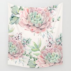Pink Succulents Wall Tapestry