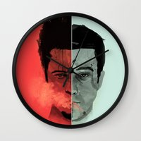 tyler durden Wall Clocks featuring Tyler Durden V. the Narrator by qualitypunk