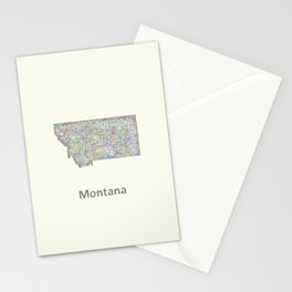 Montana map Stationery Cards