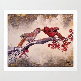 Kissing Cardinals Art Print