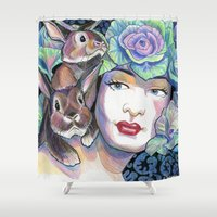 bunnies Shower Curtains featuring Bunnies by Thea Maia