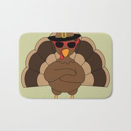 Cool Turkey with sunglasses Happy Thanksgiving Bath Mat