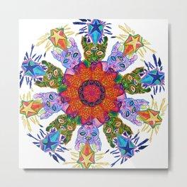Psychic Cat Mandala Metal Print