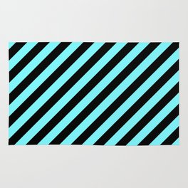 Electric Blue and Black Diagonal RTL Stripes Rug