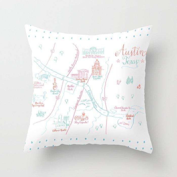 Austin, Texas Illustrated Calligraphy Map Throw Pillow