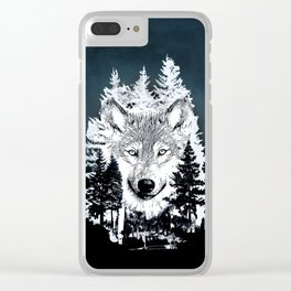 Forest Wolf Art Clear iPhone Case
