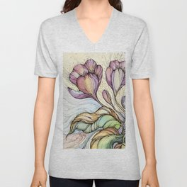 Crocus.Hand drawn watercolor and ink drawing Unisex V-Neck