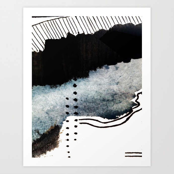 Closer - a black, blue, and white abstract piece Art Print