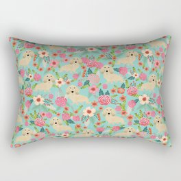 Dachshund longhaired cream doxie floral dog breed pet gift for dachsie lovers must haves Rectangular Pillow
