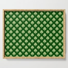 Shamrock Clover Polka dots St. Patrick's Day green pattern Serving Tray