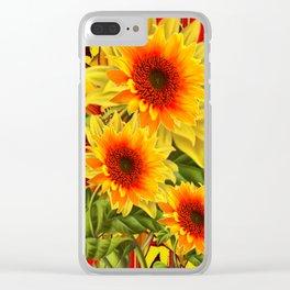 GOLDEN YELLOW KANSAS SUNFLOWERS RED ART Clear iPhone Case