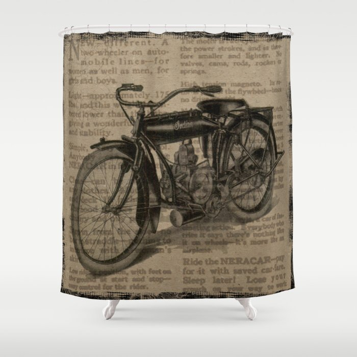 Vintage Indian Motorcycle Shower Curtain